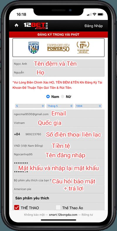 Đăng ký 12bet mobile