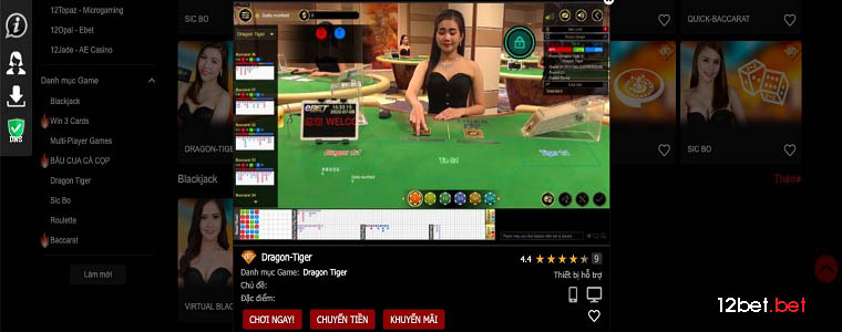 12BET Baccarat cũng là 1 trong cá trò casino trực tuyến đông người chơi