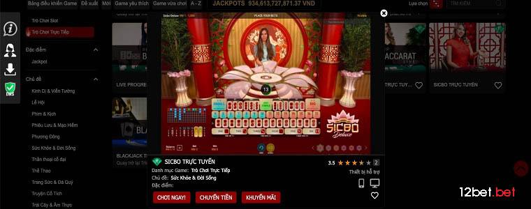 12bet sicbo - trò chơi casino trực tuyến đơn giản