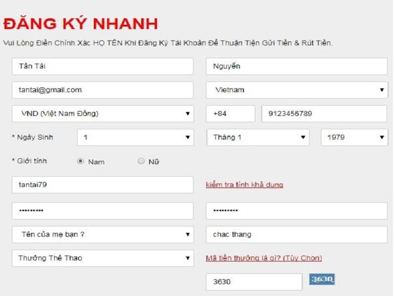 Nhập thông tin tài khoản tại website